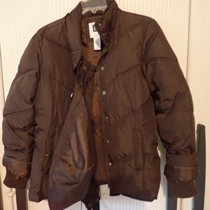 GAP Hooded Brown Quilted Jacket Size Medium
